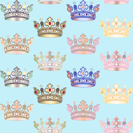 Seamless Pattern with Crown. Symbol of Authority. Vector Illustration.