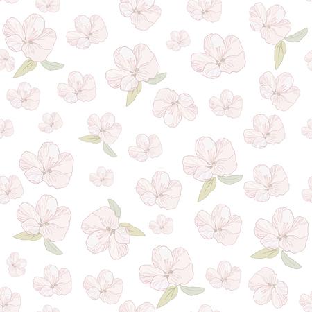 Japanese Flower Sakura Seamless Pattern illustration.