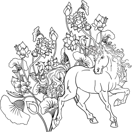 Colouring book with unicorn horse.