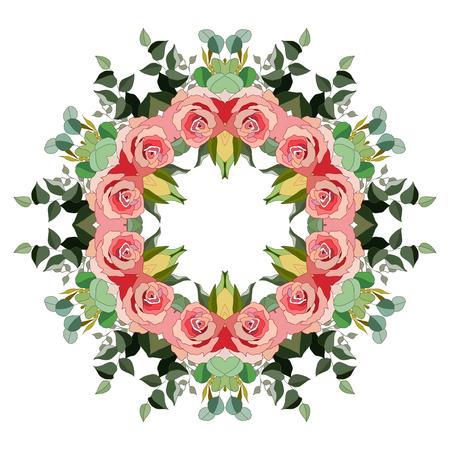 Flowers wreath floral design. Stock Illustratie