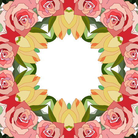 Flowers frame floral design. Stock Illustratie