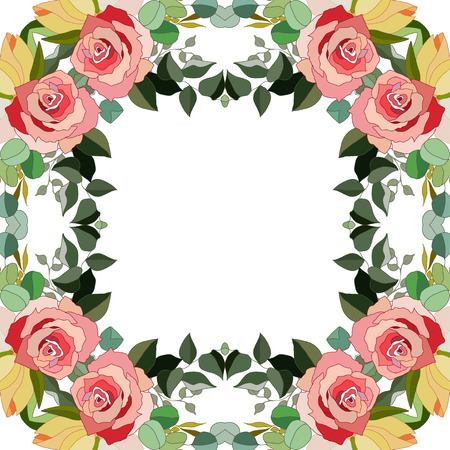 Flowers frame, floral design.