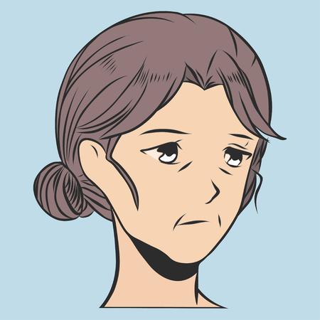 Sad womens Face. Old woman vector illustration.