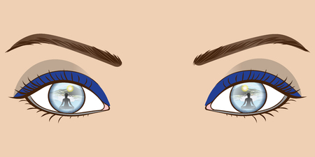 Beautiful Blue eyes with picture inside. Vector Illustration. Banque d'images - 115244557