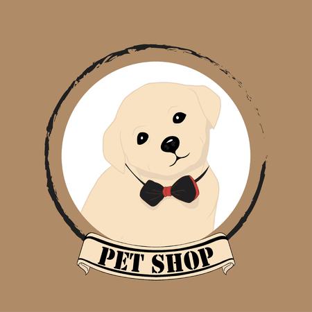 Cute Puppy of Labrador Dog especial for Pet Shop Logo. Vector Illustration Logo