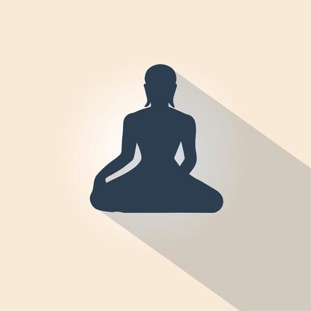 Yoga Lotus Pose Silhouette for Design Yoga Studios. Vector Illustration. Ilustração