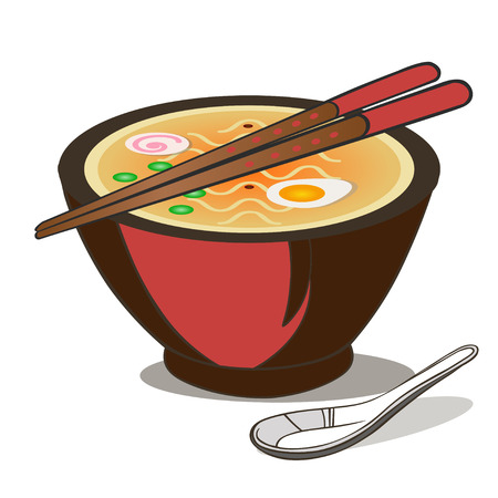 Ramen Noodle Soup. Japanese Traditional Food with Chopsticks and Spoon isolated on white.