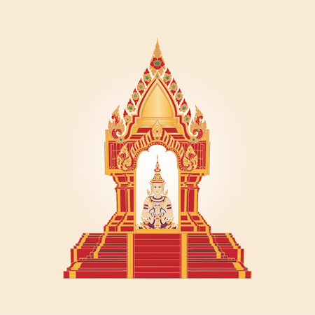 Traditional Thai Pagoda with Symbol of Thailand. Illustration