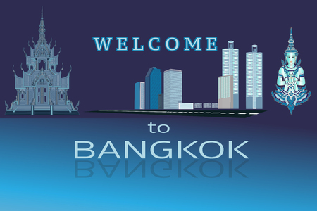 Welcome to Bangkok Thailand. Urban city scape vector Illustration