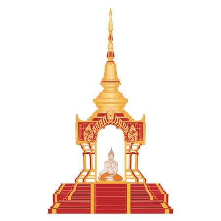 Lord Buddha in the Traditional Golden Temple. Thailand Buddha religion.