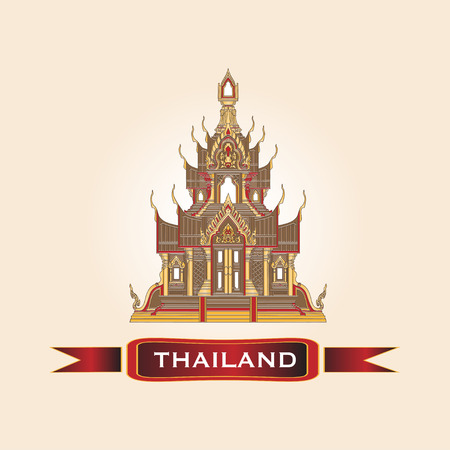Golden Thai Temple Traditional Design Architecture Vector Illustration. Ilustração