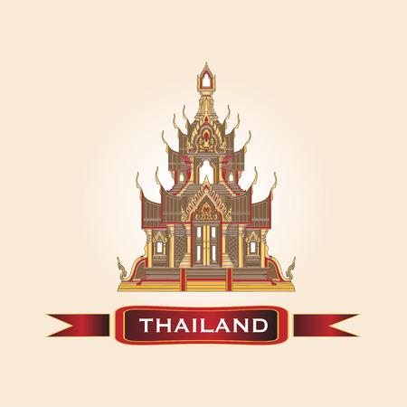 Golden Thai Temple Traditional Design Architecture Vector Illustration. Illustration
