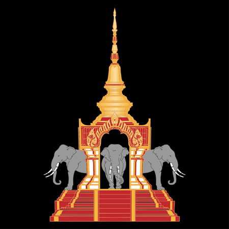 Traditional Golden Thai Temple with Erawan symbol of Thailand. Illustration