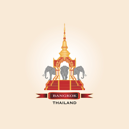Welcome to Bangkok Thailand. Traditional Golden Temple with Elephants.