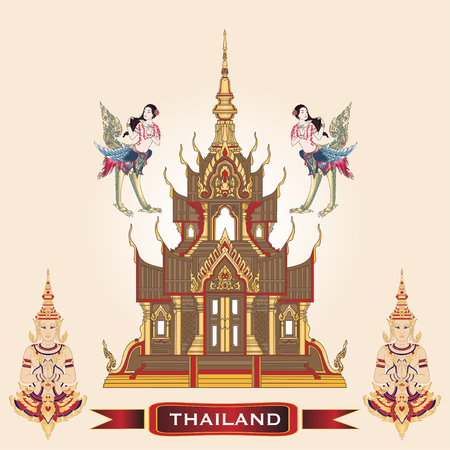 Traditional Thai Golden Temple with Symbols of Thailand