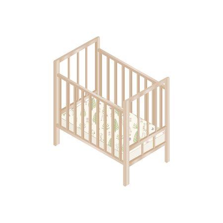 Lit bébé en bois avec matelas design isométrique. Illustration vectorielle.