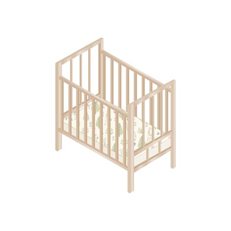 Wooden Baby Cot with Mattress isometric Design. Vector Illustration.