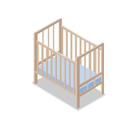 Wooden Baby Cot with Blue Mattress isometric Design. Vector Illustration.