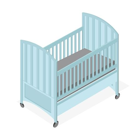 Blue wooden Baby Cot simple isometric style.