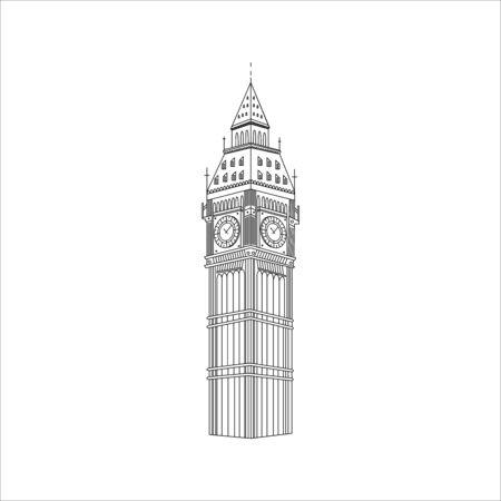 Símbolo del Big Ben de Inglaterra. Pegatinas de viaje con elementos de destinos turísticos y monumentos de fama mundial. Ilustración de vector de concepto de viaje. Ilustración de vector