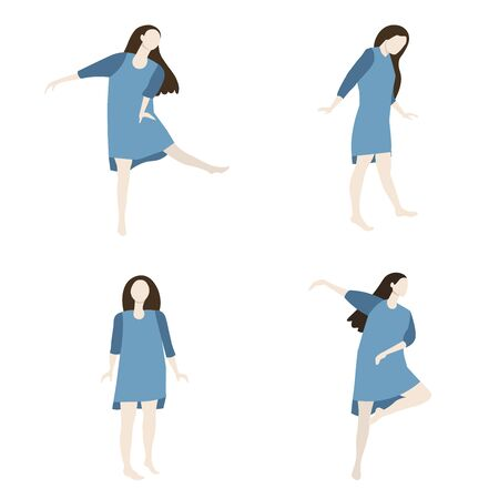 Happy Dancing woman isolated on white. Positive recreation dance vector illustration. Vettoriali