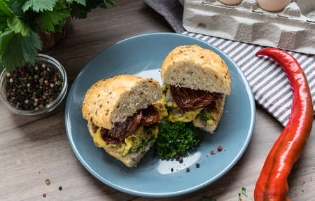 benedict: Delicious sandwich with bacon and dried tomatoes on a blue plate