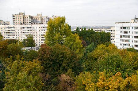 Photo illustration with autumn city