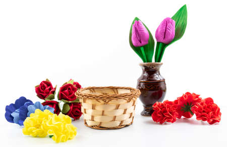 Isolated on white background pictures still life with flowers and vase, beautiful composition, holiday