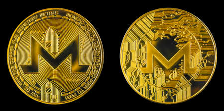 Monero crypto coin isolated on black background, both side on golden cryptocurrency coin, close-up view photo Imagens
