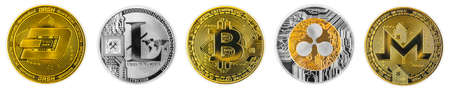 Crypto currency coins panorama, gold and silver coins, bitcoin monero litecoin ripple dash, isolated on white background
