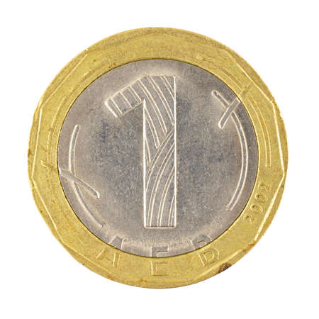 One bulgarian Leva coin isolated on a white background photo