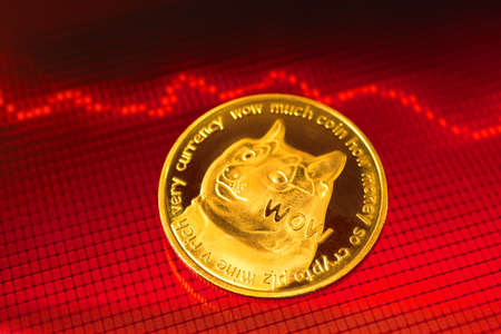 Dogecoin cryptocurrency crisis concept, value price is drop, the cost of crypto coin is falling, red stock chart graphs with arrows on background