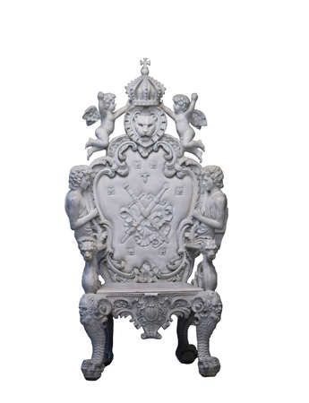 Luxurious chairs made of white cement. Beautiful carving