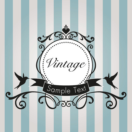 Vintage frame on blue background