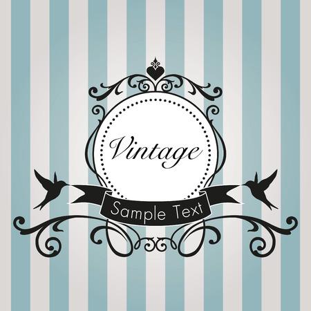 Vintage frame on blue background