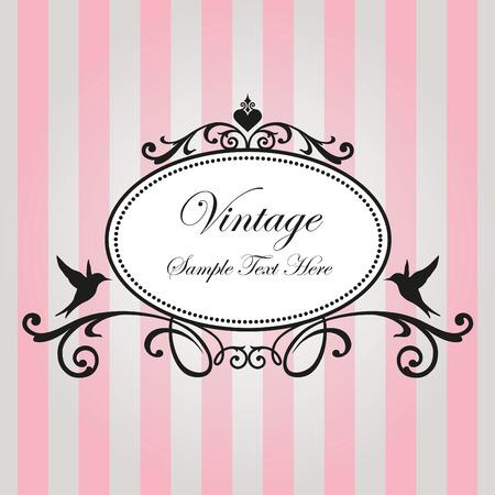 lines decorative: Marco de la vendimia en el fondo de color rosa