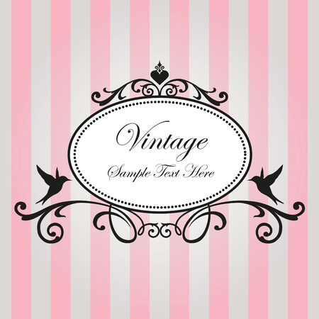 vintage invitation: Vintage frame on pink background Illustration