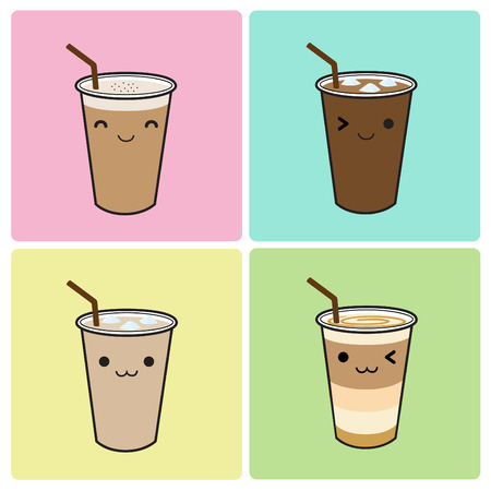 Iced coffee icon set