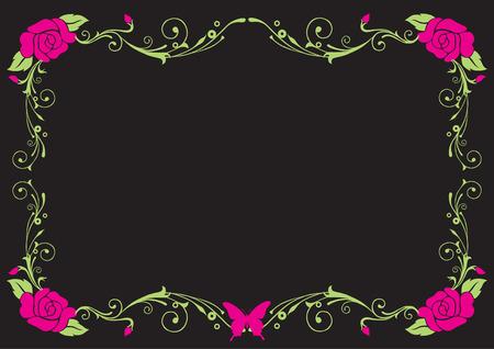 Rose vintage frame Çizim