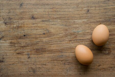 farm fresh: Eggs on wood background Stock Photo