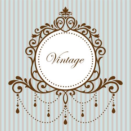 Kroonluchter vintage frame op cyaan achtergrond