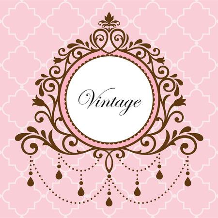vintage scrolls: Chandelier vintage frame on pink background Illustration