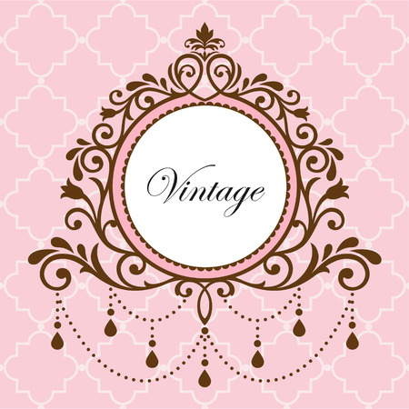 Chandelier vintage frame on pink background Illustration