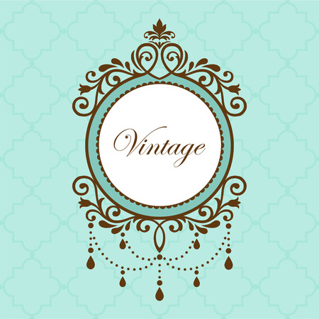 vintage retro frame: Chandelier vintage frame on green background
