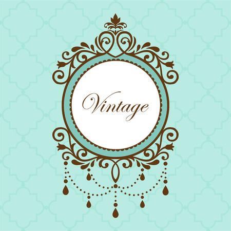 Chandelier vintage frame on green background