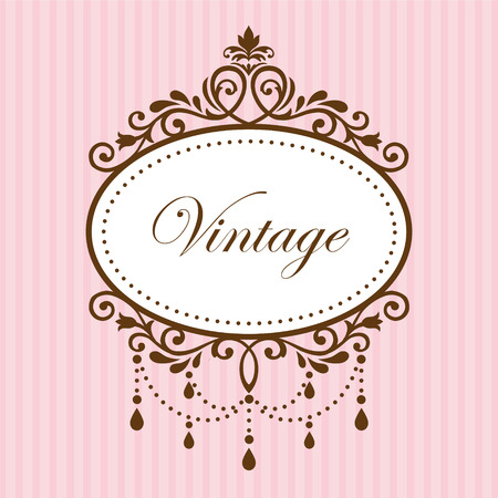 label vintage: Chandelier vintage frame on pink background Illustration