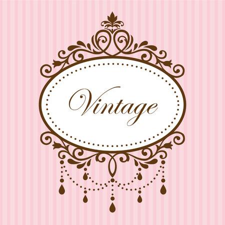 vintage etiket: Kroonluchter vintage frame op roze achtergrond