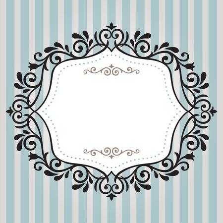 Vintage frame op blauwe streep achtergrond Stock Illustratie