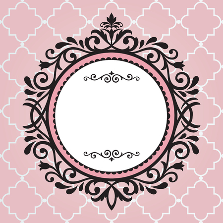 Vintage frame op roze patroon achtergrond Stock Illustratie