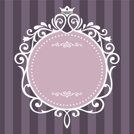 Vintage frame on purple stripe background Ilustracja
